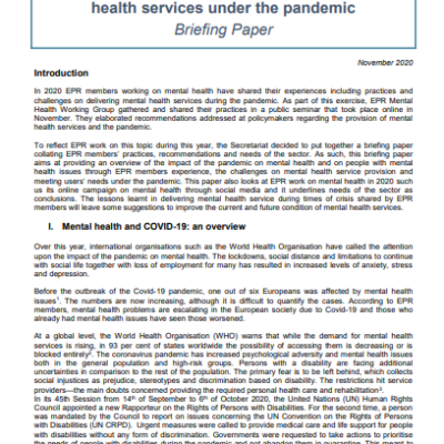 Covid-19 and Mental Health: Delivering Mental  Health Services Under the Pandemic